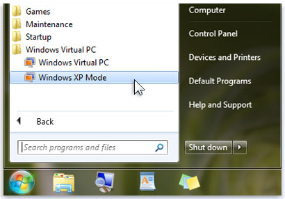 Windows Virtual PC and Windows XP in the list of programs