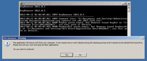 AVG Remover Warning Message