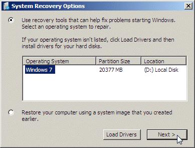 windows system repair options