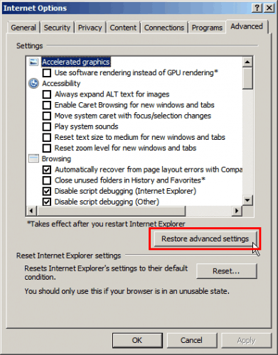 RIES — Restore advanced settings