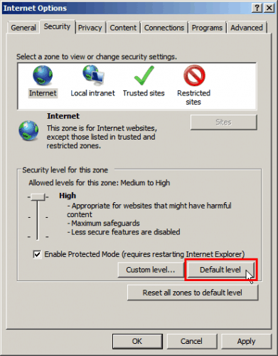 RIES — Click on Security Tab > Default Level for each section