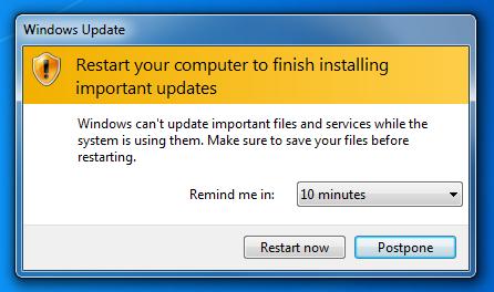 automatic restart after windows update
