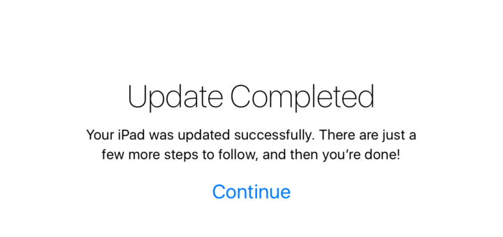 Install iOS 9 update complete