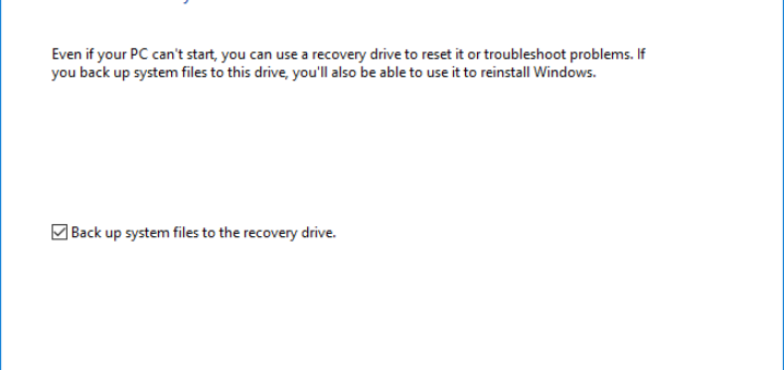 Create A Bootable USB Recovery Drive