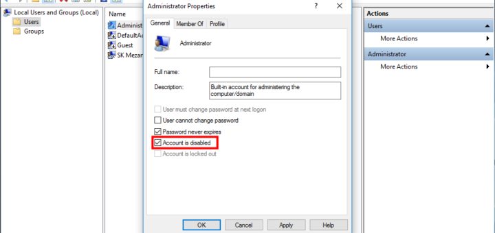 Enable Administrator Account Using Local Users and Groups Manager in Windows 10